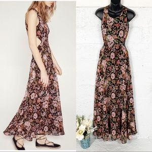Zara Open Back Floral Maxi Dress